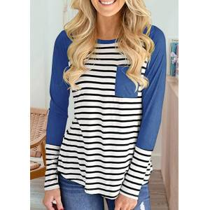 Blouses Striped Pocket Raglan Long Sleeve Blouse in Blue. Size: S,XL