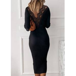Bodycon Dresses Open Back Lace Splicing Knitted Bodycon Dress in Black. Size: S,M,L,XL
