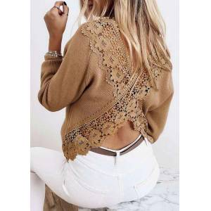 Blouses Lace Floral Splicing Open Back Casual Blouse in Light Brown. Size: S,M,L,XL