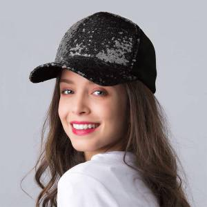 Hats Sequined Splicing Mesh Hollow Out Baseball Cap in Black. Size: One Size